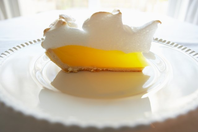 Wedge of lemon meringue pie