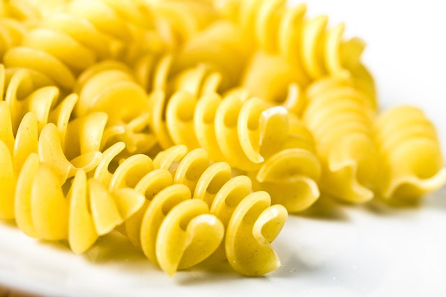 Close-up of spiral pasta noodles