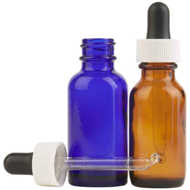 Brown And Blue Glass Eyedropper Bottles