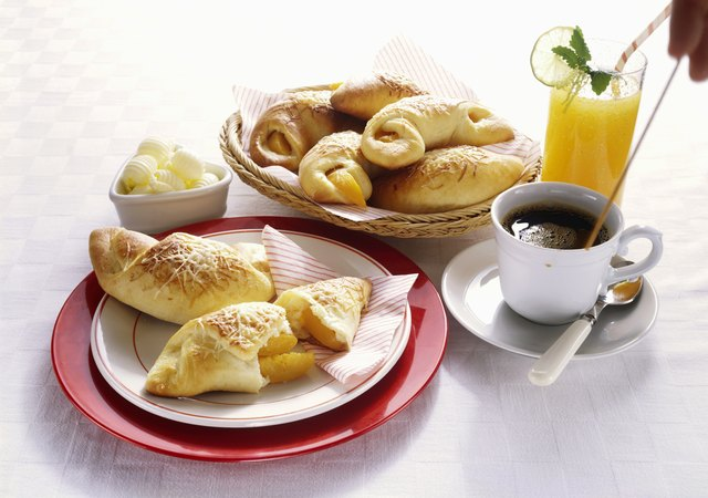 Breakfast with Cheese Pastries and Orange Juice