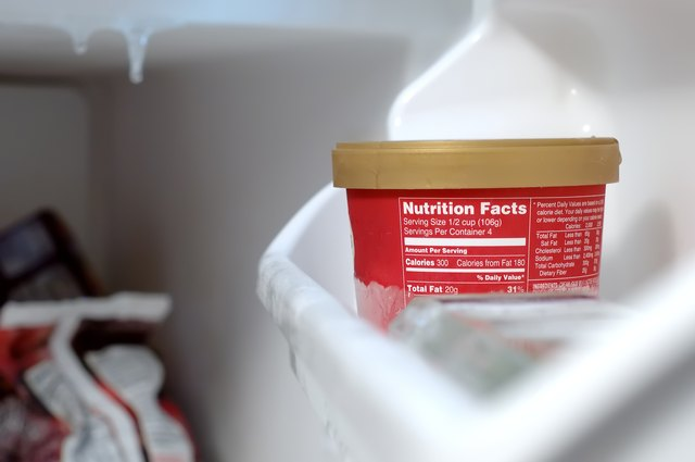 Nutrition Facts - Icecream in a freezer
