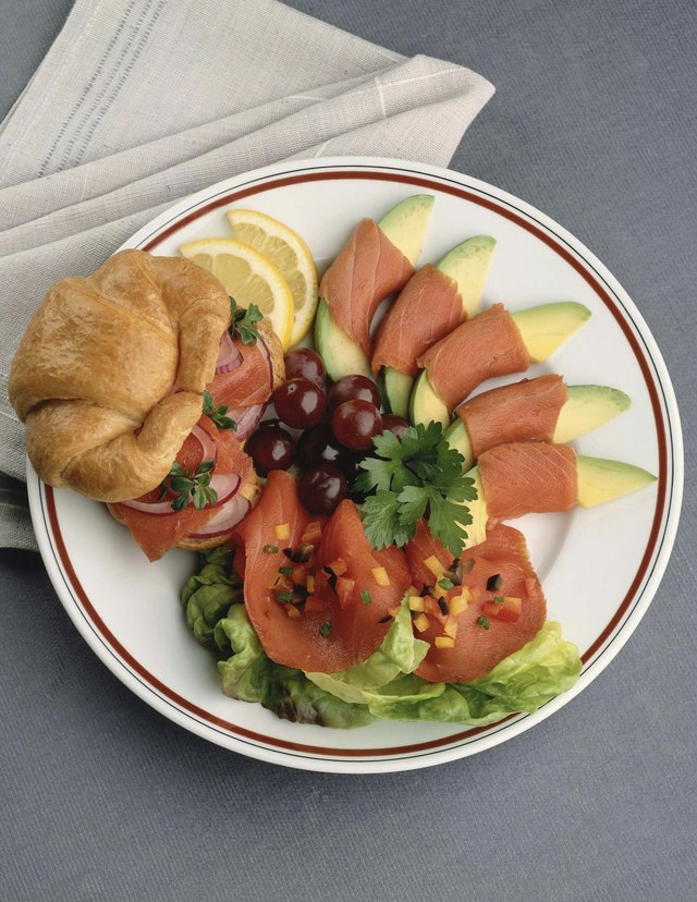 Salmon sandwich and avocado salad