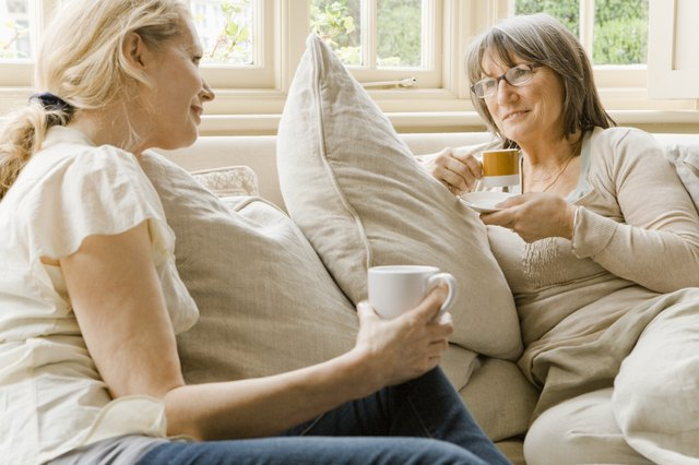 Women relaxing with coffee