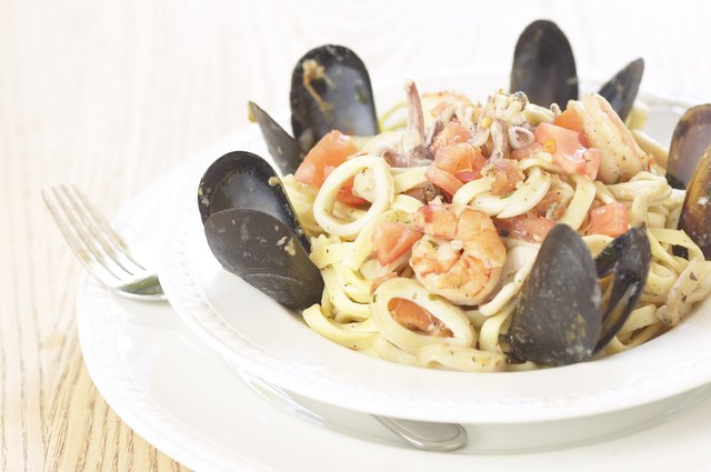 Bowl of fresh seafood and pasta