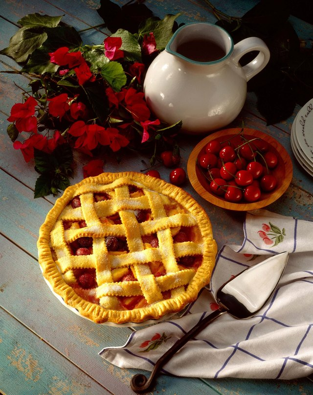 Cherry peach lattice pie