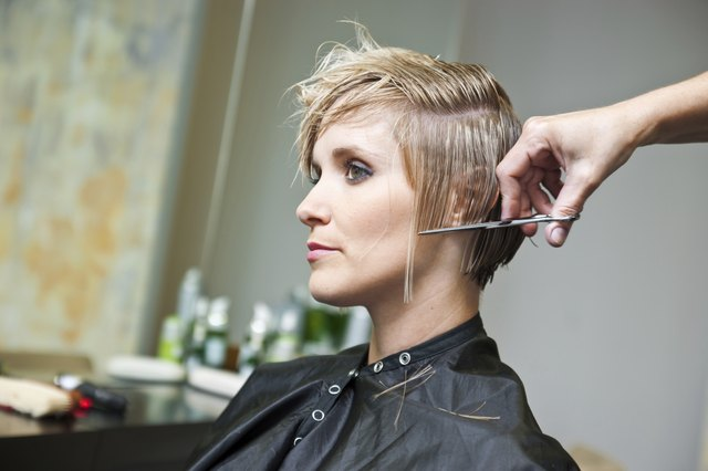 woman making haircut