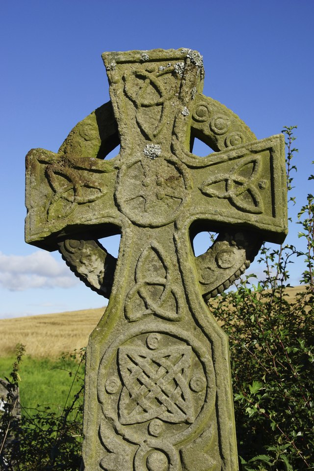 Close Up Of Old Stone Celtic Cross Head