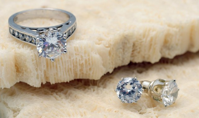 Diamond engagement ring and earrings