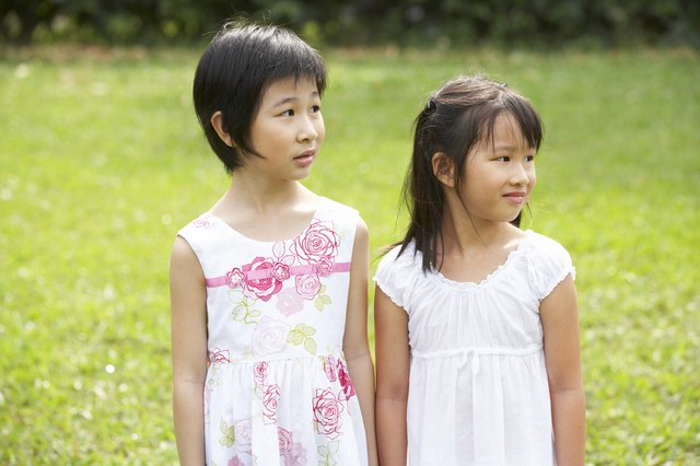 Two young girls in the park