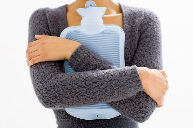 Woman with a hot-water bottle