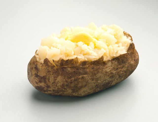 Melted butter on baked potato