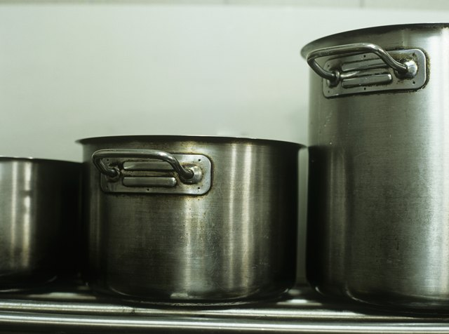 Pasta pots in commercial kitchen,close-up
