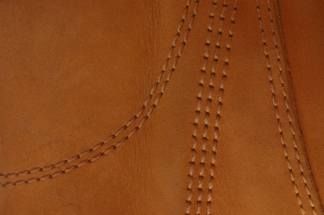 Leather with stitching