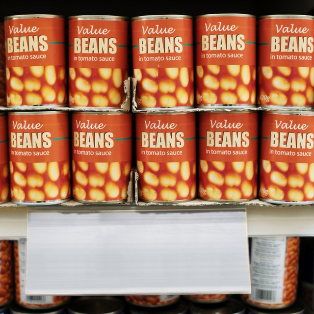 canned food arranged in a supermarket