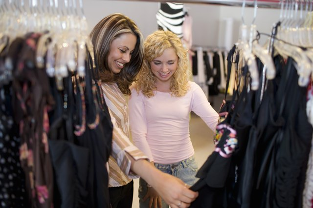 Women shopping in clothing store