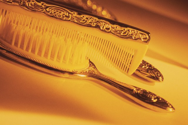 Comb , brush and mirror set