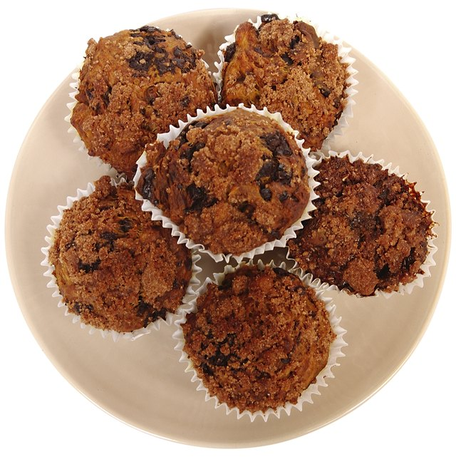 Plate Of Raisin Bran Muffins In Muffin Papers