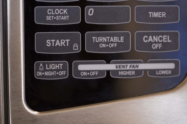 Buttons on a microwave