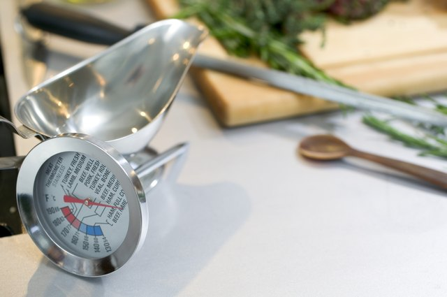 Meat thermometer and gravy boat