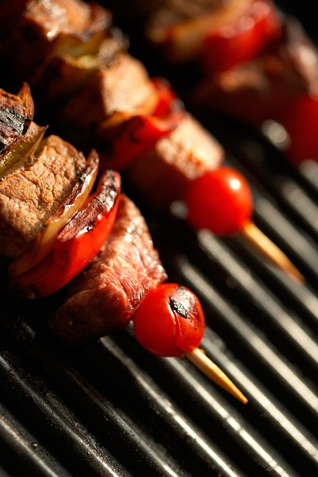 Shish kabobs on grill