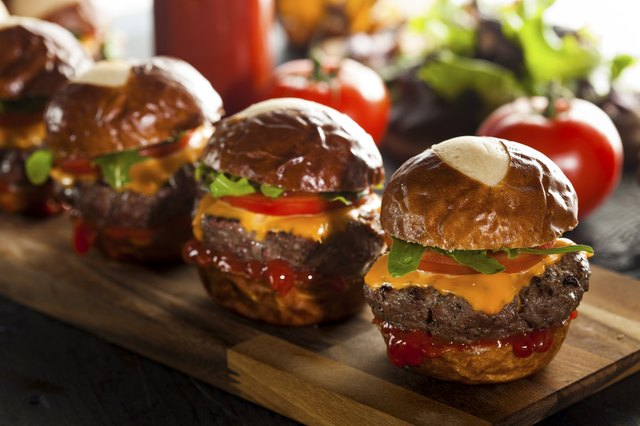 Homemade Cheeseburger Sliders with Lettuce and Cheese