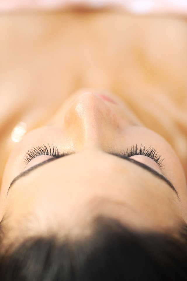 Close up of a woman on a massage table