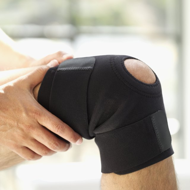 close-up of man wearing a knee support