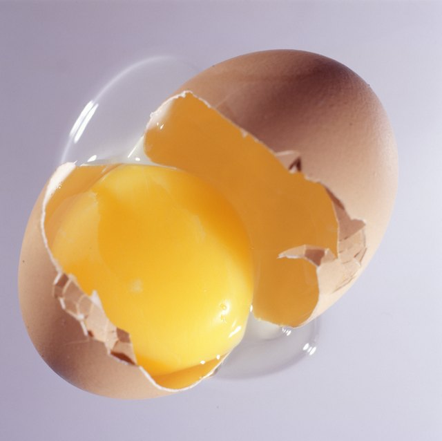 Broken egg, overhead view, (Close-up)