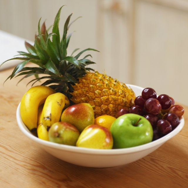 elevated view of fruit in a bowl