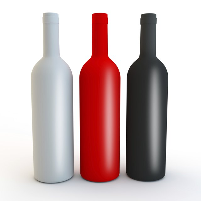 different coloured matt vodka, spirits or wine bottle shapes