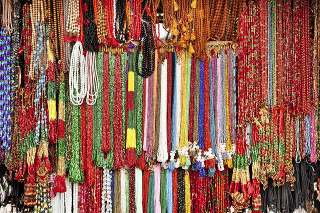 Handcrafted beads in lockal shop, Nepal.