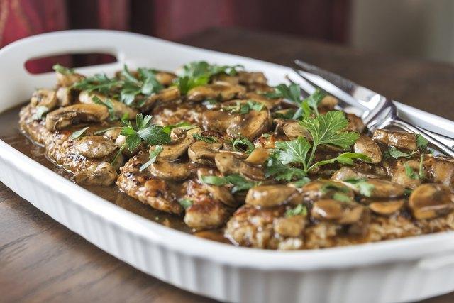 Chicken Marsala on a platter
