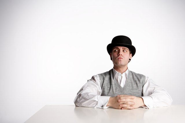 Suspicious man in bowler hat