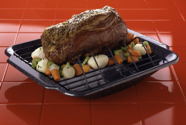 Roast and vegetables on broiler