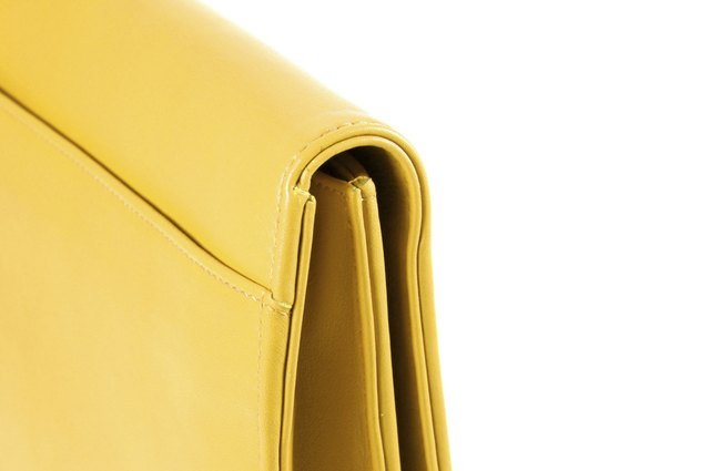 yellow briefcase close up