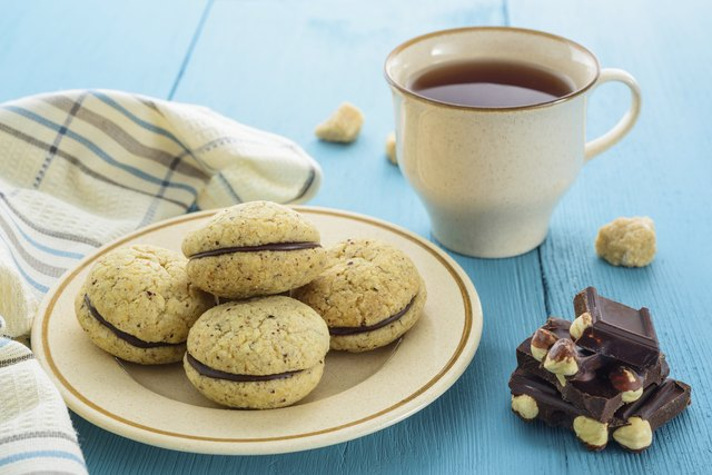 Homemade cookies, chocolate and tea
