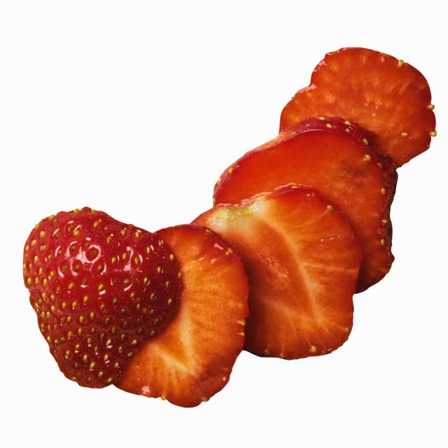 Close-up of sliced strawberry