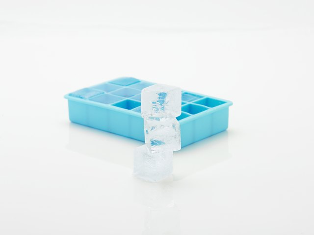 Ice cubes and tray