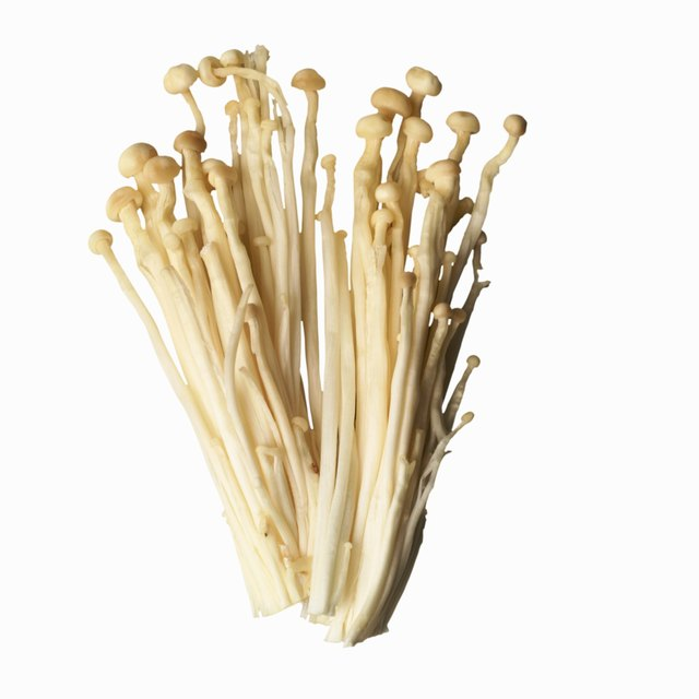 Close-up of an enoki mushroom