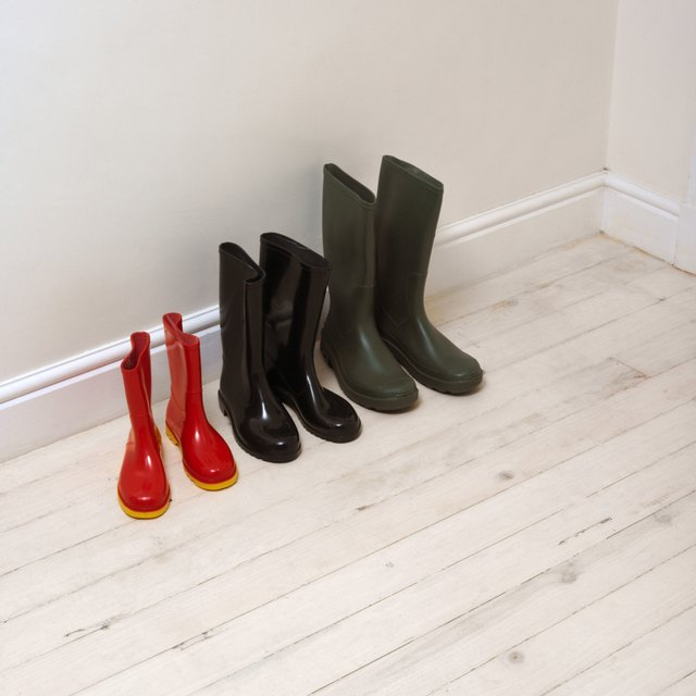 elevated view of Wellington boots lined up from smallest to largest