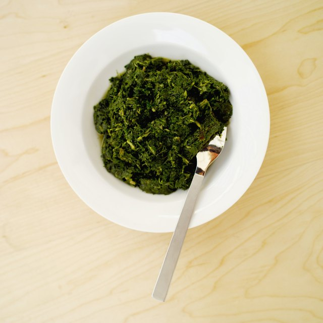 Elevated view of a bowl of spinach