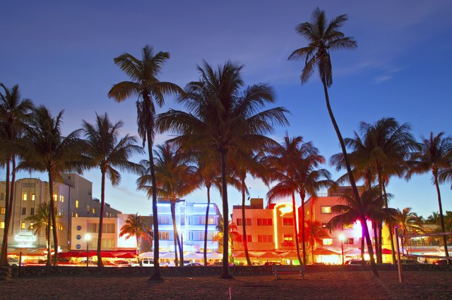 """Miami Beach, Florida  hotels and restaurants at sunset"""