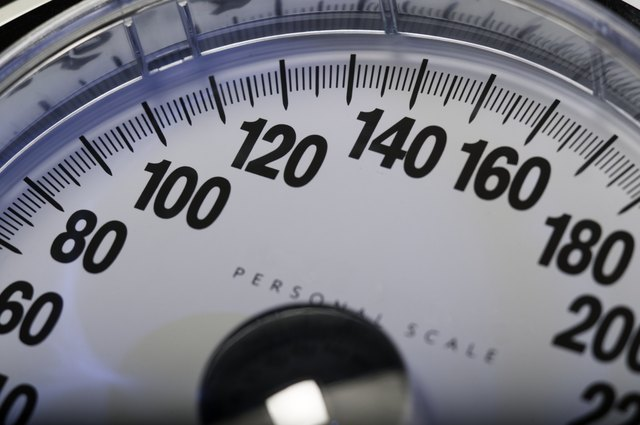 Weighing scales, close-up of dial, close-up