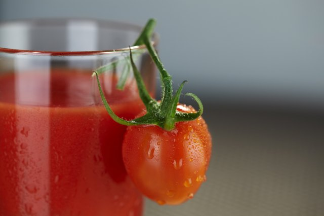 Tomato at juice glass