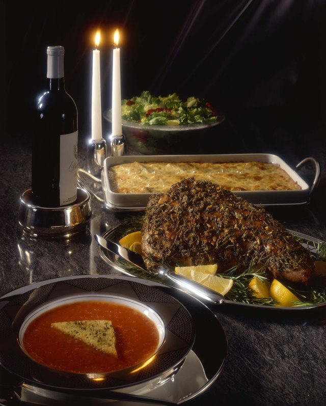 Leg of lamb with soup and casserole