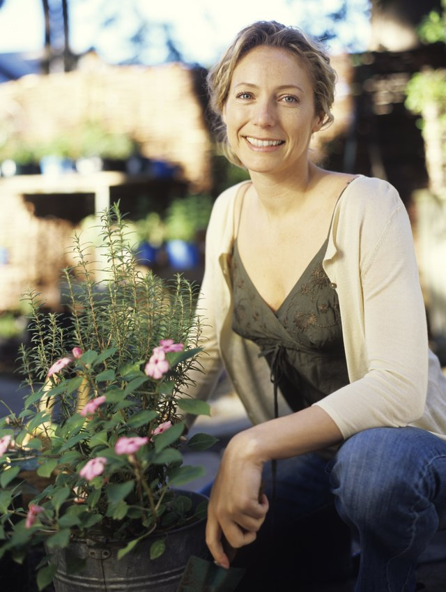 Woman crouching rosemary plant, smiling, portrait