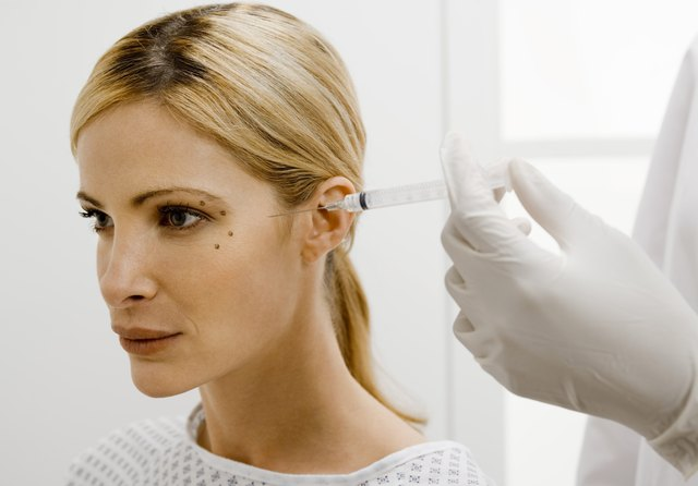 Woman getting collagen injections
