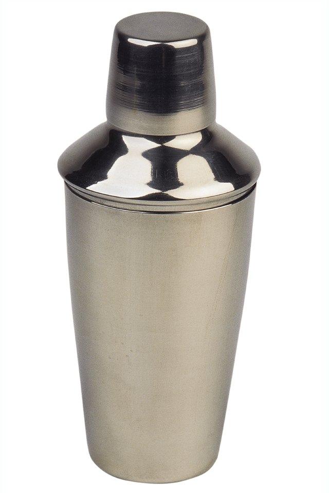Brushed metal cocktail shaker