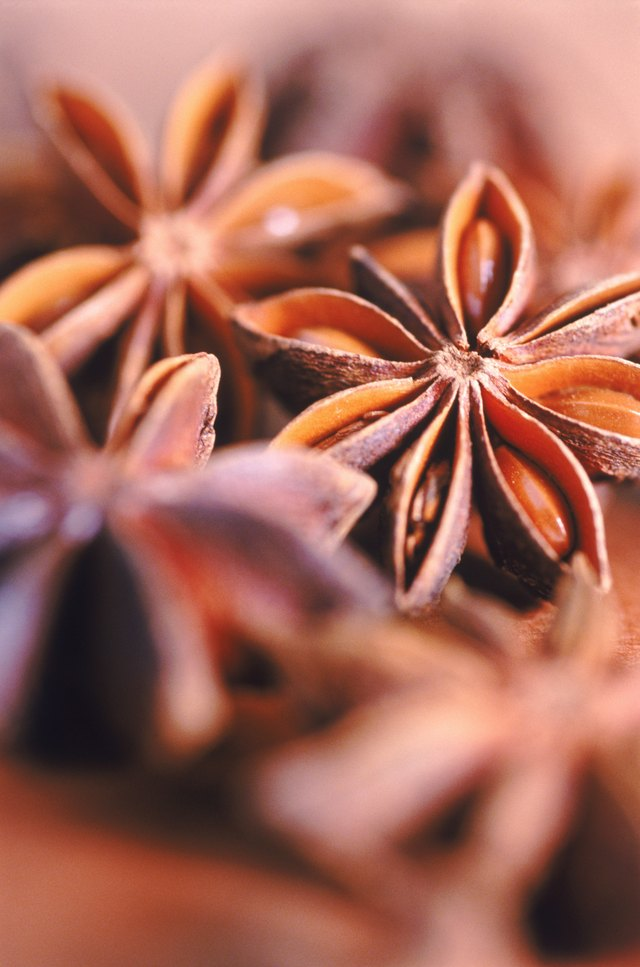 Pile of star anise, selective focus