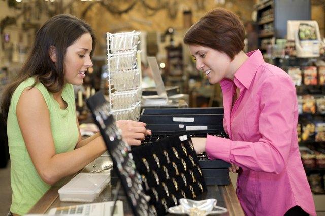 Saleswoman and customer